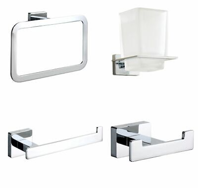 Square Modern Chrome Bathroom Wall Accessories Designer Toilet Roll Holder Set