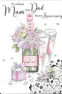 Anniversary Card To A Dear Mum And Dad - Champagne, Flowers, Gift