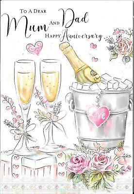Anniversary Card To A Dear Mum And Dad - Champagne Bucket, Flowers