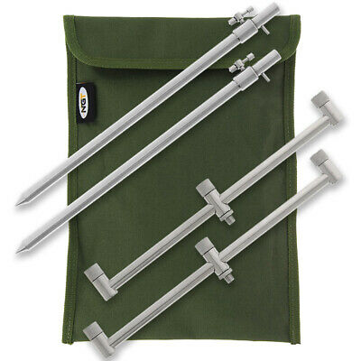 NGT Carp Fishing 2x 30-50cm Stainless Bank Stick & 2x 30cm 3-Rod Buzz Bar Set