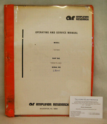 Amplifier Research 1W1000 Power Supply Operating & Service Manual