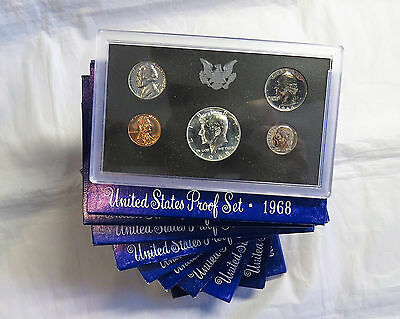 Ten 1968-S U.S. Mint Proof Sets - 10 set Lot - OGP - Combined Shipping Available