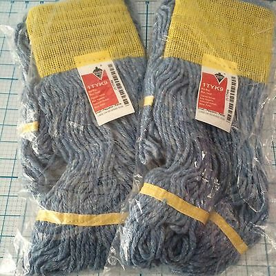 """New Set Of 2 Tough Guy Wet Mop Head Blue Small  1Tyk9 Cotton 15"""" Replacement"""