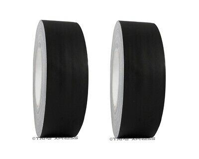 """2 Rolls 2"""" x 60 yd Gaffers Black Audio Stage Adhesive Tape Spike Tape No Residue"""