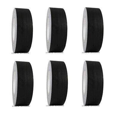 """6 Rolls 2"""" x 60 yd Gaffers Black Audio Stage Adhesive Tape Spike Tape No Residue"""