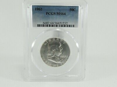1962 PCGS MS64 50C Franklin Half Dollar Uncirculated Certified Coin AH0190