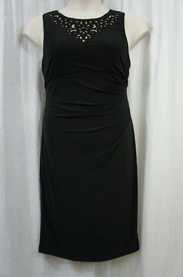 257207c1434ca Jessica Howard Dress Sz 12 Black Tan Jersey Knit Beaded Ruched Cocktail  Evening