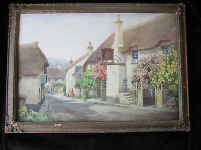 Old 20's 30's Porlock Minehead Watercolour Painting FREDRICK PARR Signed Framed