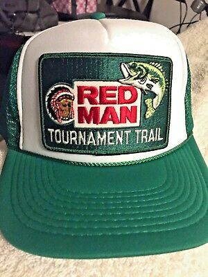 08defed1cd7 RED MAN CHEWING Tobacco Trucker Hat Vintage Style Snapback Cap Green ...
