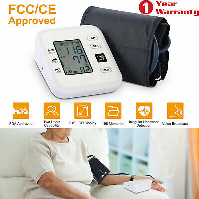 Automatic Upper Arm Blood Pressure Monitor Digital LCD BP Cuff Pulse Machine