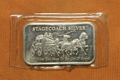 """1oz .999 SILVER """"DIVISIBLE"""" BAR """"STAGECOACH"""" FROM NORTHWEST TERRITORIAL MINT"""