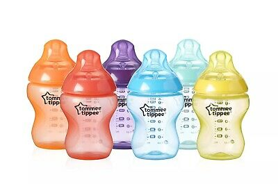 Tommee Tippee Closer to Nature Baby Feeding Bottles 9 oz,multi-colored, 6 pack