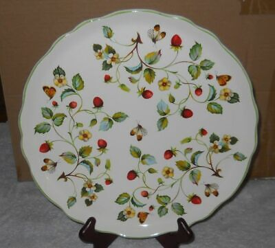 """Vintage Old Foley byJames Kent """"Strawberry""""+ Butterflies Cake Plate   As Is!"""