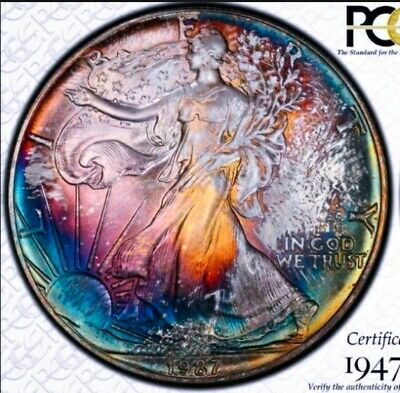 1987 MS65  American Silver Eagle  Dollar Coin *  WOW RAINBOW TONING/ ASE.