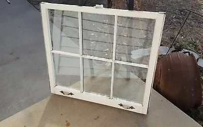 Architectural Salvage ~ 6 PANE OLD WINDOW SASH FRAME PINTEREST with HARDWARE