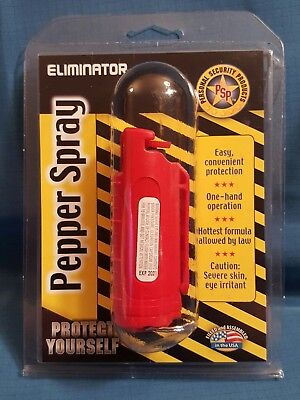 Eliminator .05 oz. Pepper Spray canister with hard case and keyring Red Safety