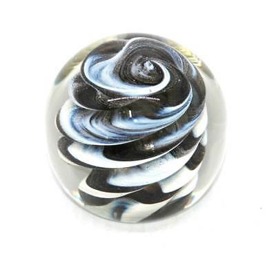 Vintage Caithness CIIG black and white controlled swirl large glass paperweight