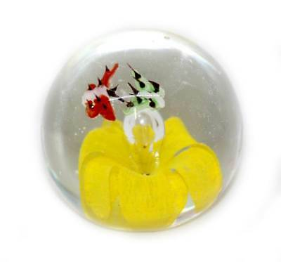 Vintage heavy glass yellow flower & butterflies controlled bubble paperweight