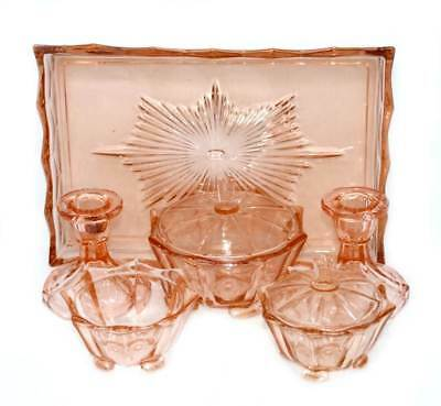 Vintage pretty art deco pink depression glass dressing table set