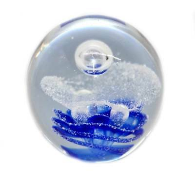 Vintage large blue & white controlled bubble heavy glass paperweight
