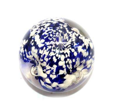 Vintage solid glass blue, white & clear controlled bubble paperweight