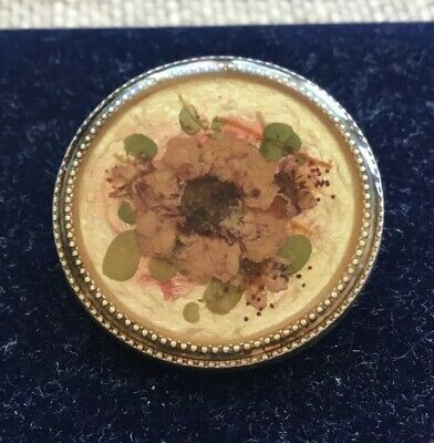 Vintage Art Deco Pierre Bex Pressed Flower Silver Metal Brooch Pin