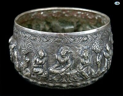 Fine 1800 Antique Stamped Burmese Myanmar Repoussé Silver Bowl of Dancing Ladies