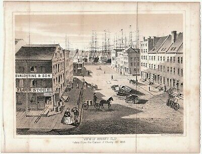 SUPER 1859 Lithograph Print - View of Market Slip - New York City NY 1860 Street