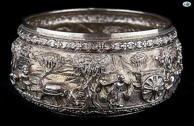 1800s Antique Stamped Burmese Myanmar Repoussé Elephants Villagers Silver Bowl