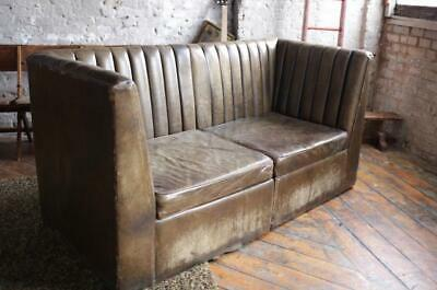 Vintage Leather Art Deco Barrel Back Mid Century Modular Sofa Chair