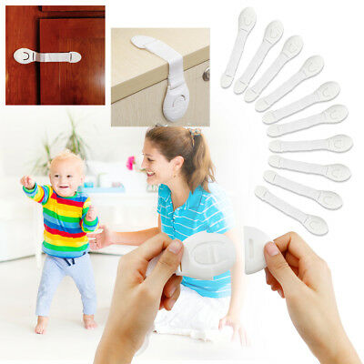 For Child Cabinet Safety Lock Kid Door Drawers Refrigerator Plastic Lock 10pcs