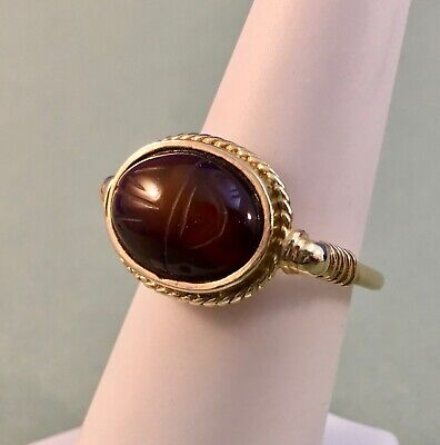 Translucent Brown Agate Scarab Ring Sz 6.75 w Solid 14K Egyptian Revival Setting