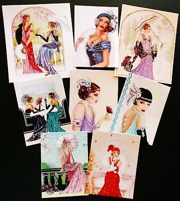 PRINTED GLAMOROUS CLASSY LADIES CARD TOPPERS X 8 VINTAGE ANTIQUE 1920's
