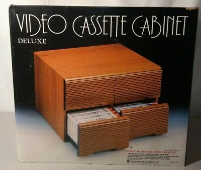 Vintage Deluxe Video Cassette VHS/Beta Cabinet - Holds 48 - NEW OLD STOCK