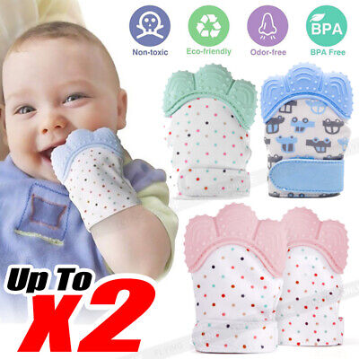 1/2X Silicone Baby Teether Teething Mitt Mitten Glove Safe BPA Free Chew Dummy