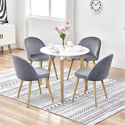 Small Round Dining Table Set 2 4 Chairs Velvet Seats Metal Wooden Legs Kitchen