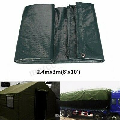 2.4mx 3m Tarpaulin Camping Heavy Duty Boat Vehicle Strong Cover Shelter Camping