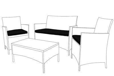 Black Replacement 3pc Cushions Set to fit Rattan Garden Furniture Chairs Sofa