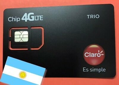NEW! ACTIVATED & REGISTERED Argentina CLARO sim card with AR$ 10  balance