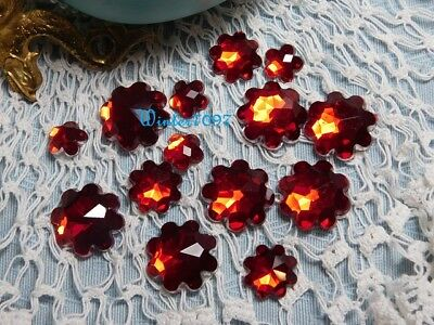 (295)**Costume Makers Sellout**Flat Backed**Rhinestones**Red**Flowers**New!**