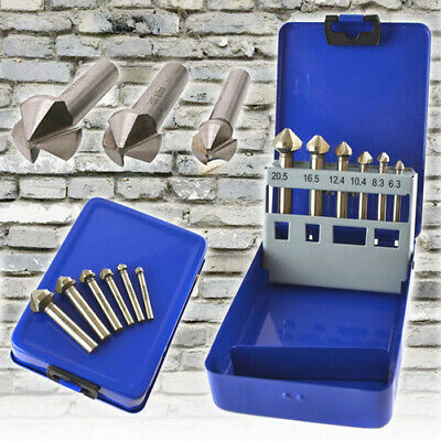 6pcs HSS Countersink Countersunk Deburring Drills Tapered For Carbon Steel Wood