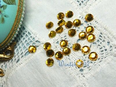 (25)*Costume Makers Sellout**Flat Back Rhinestones*Gold*Round*New!*
