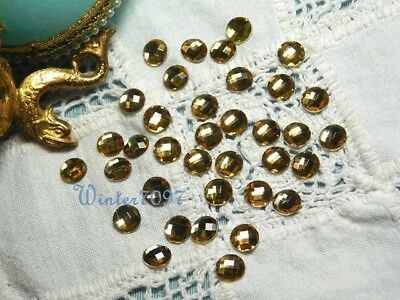 (30)*Costume Makers Sellout**Flat Back Rhinestones*Gold*Round*New!*