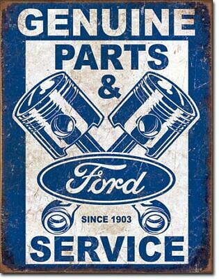 Genuine FORD Parts & Service Vintage Tin Metal Sign Garage/Man Cave Wall Art