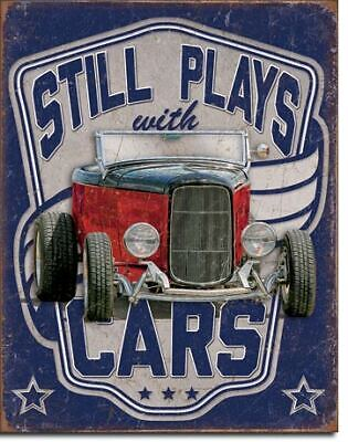 Still Plays With Cars Vintage Tin Metal Sign Garage/Man Cave Wall Art