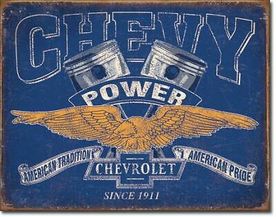 Chevy Power Pistons Vintage Tin Metal Sign Garage/Man Cave Wall Art