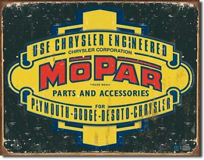 Chrysler Engineered Mopar Parts Vintage Tin Metal Sign Garage/Man Cave Wall Art