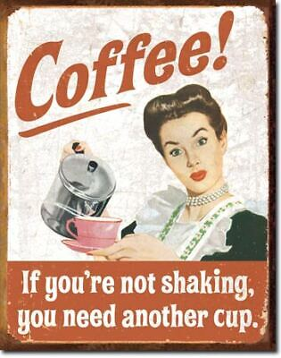 Coffee #2 Vintage Tin Metal Sign Garage/Man Cave Wall Art
