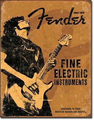 Weathered Fender Fine Instruments Tin Metal Sign Garage/Man Cave Wall Art
