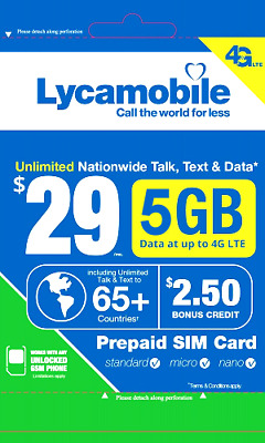 NEW!! 29$ PRE-LOADED Unlimited USA sim card America LTE +  American LYCAMOBILE